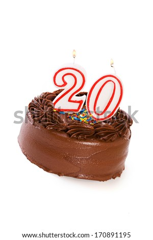 Cake: Birthday Cake Celebrating 20th Birthday - stock photo