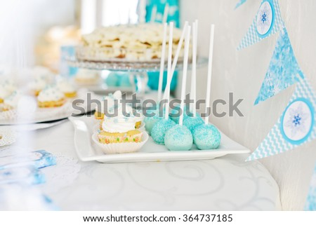 Cake, cakepops and so on for  birthday party, selective focus