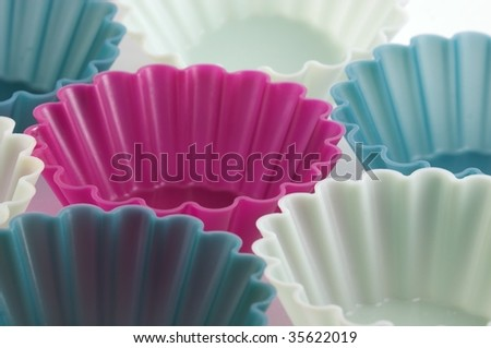 Cake cases used for making buns and cupcakes - stock photo