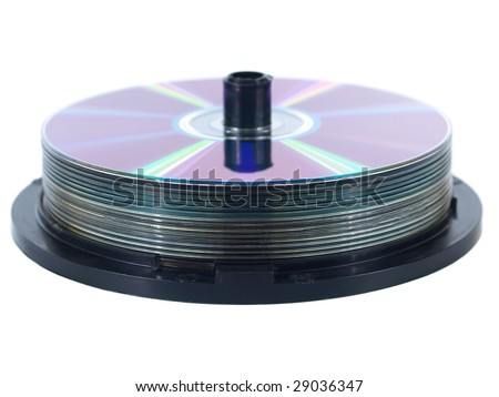 Cake CD, DVD on spindle - stock photo