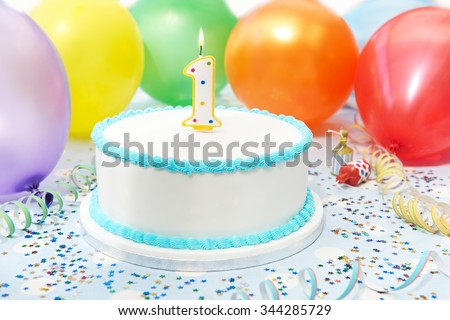 Cake Celebrating Child's First Birthday - stock photo