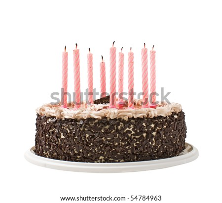 cake chocolate and candles  isolated on white background - stock photo