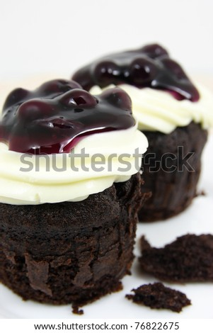 cake chocolate  with cream cheese and fresh blueberries on white plate closeup - stock photo
