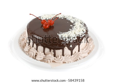 cake closeup with cherry isolated on a white - stock photo