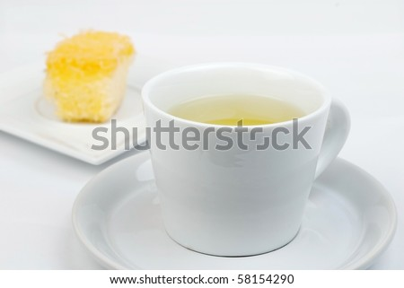 Cake, coffee and dessert on a white background.