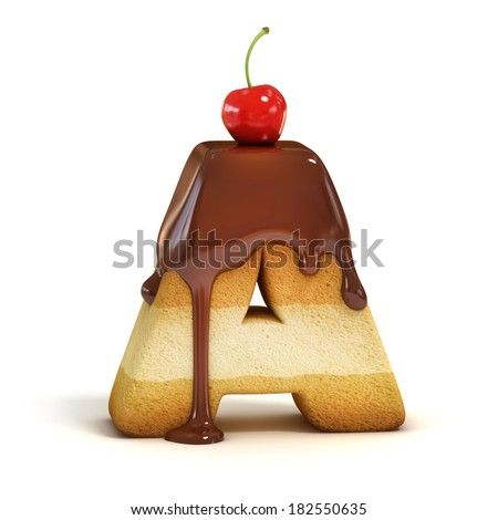 cake 3d font letter A - stock photo