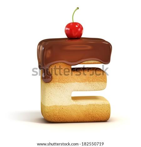 cake 3d font letter E - stock photo