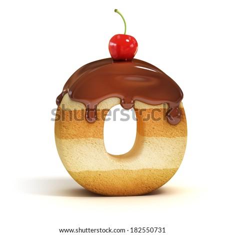 cake 3d font letter O - stock photo