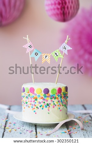 Cake decorated for a birthday party - stock photo