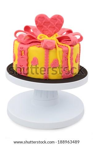 cake decorated with fondant  - stock photo