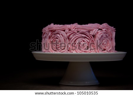 Cake Decorated with Pink Roses - Homemade Decorating DIY for Birthday - stock photo