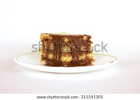 Cake dessert. Sweet gourmet food. Delicious pastry sugar chocolate cream. Tasty bakery on a plate for celebration, party, birthday. Isolated piece with brown cocoa on white background. - stock photo