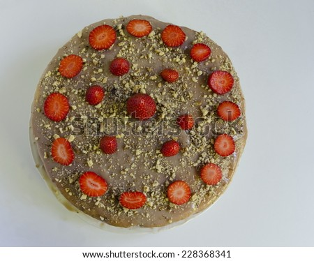 Cake dessert with farina and strawberries - stock photo