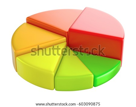 Cake diagram 3D render, on isolated background