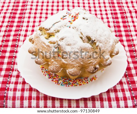 cake dusted with icing sugar - stock photo