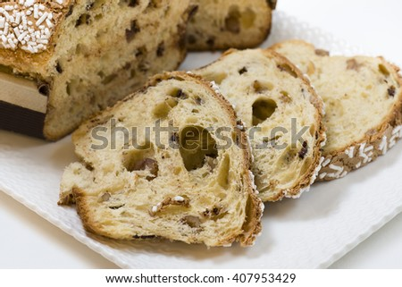 cake flour stuffed with walnuts and chestnuts, covered with sugar grain - stock photo
