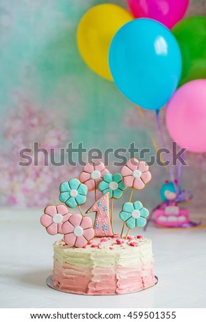 cake for first birthday - stock photo