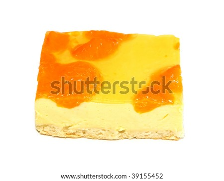 cake from cottage cheese -  peach isolated on white background