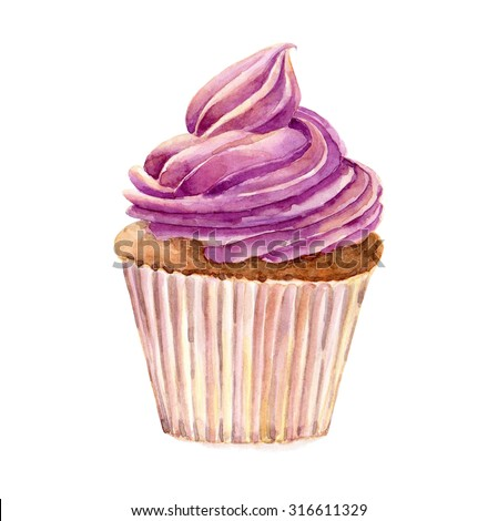 Cake hand drawn watercolor illustration on white background. It can be used for card, postcard, cover, invitation, wedding card, birthday card. - stock photo