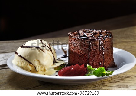 cake, ice cream, chocolate - stock photo