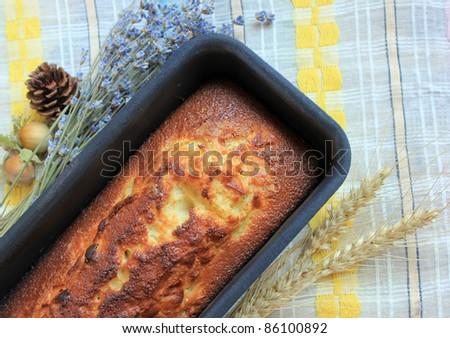 Cake in baking dish - stock photo