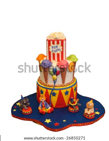 Cake in Shape of Circus/Carnival Isolated on White - stock photo