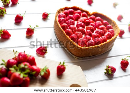 cake in the form heart - stock photo