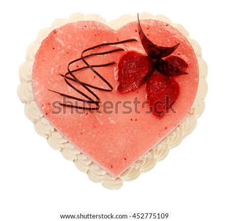 cake in the shape of heart with very on the white background. - stock photo