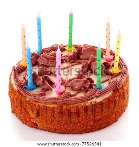 Cake isolated on white - stock photo