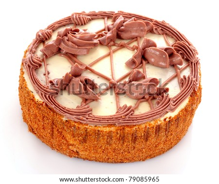 Cake isolated on white - stock photo