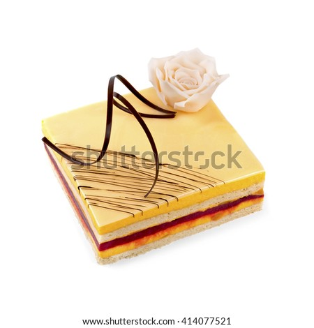 cake isolated on white decorated with marzipan rose - stock photo