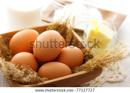 Cake making ingredients - stock photo