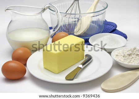 Cake making ingredients and tools
