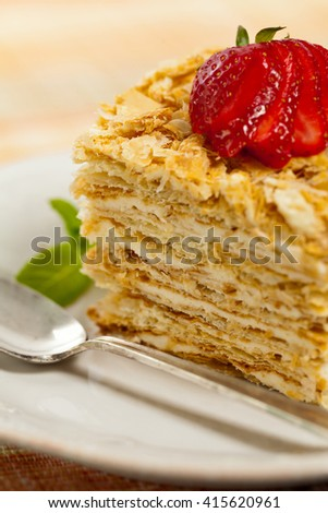 Cake Napoleon. Macro with shallow dof. Selective focus. - stock photo