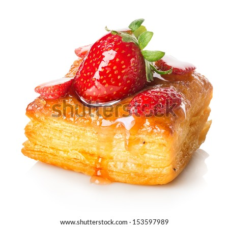 Cake of puff pastry with strawberry isolated on white - stock photo