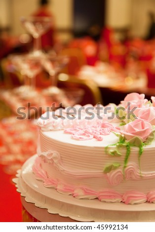 Cake on the table for a wedding - stock photo