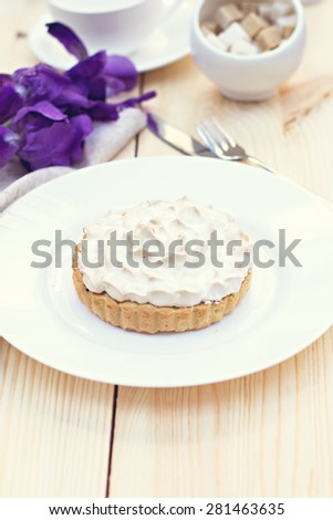 Cake or Lemon pie with meringue. Tonned photo. - stock photo
