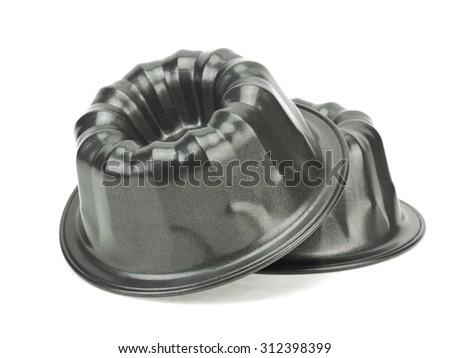 Cake pan on a white background  - stock photo