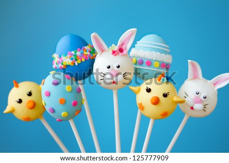 Cake pops with an Easter theme - stock photo
