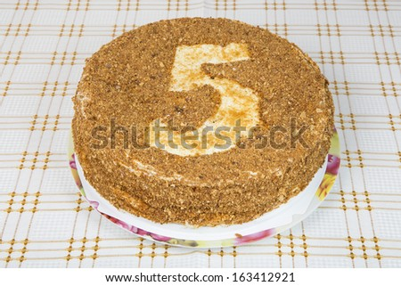 Cake served at the holiday table. 5 years anniversary - stock photo
