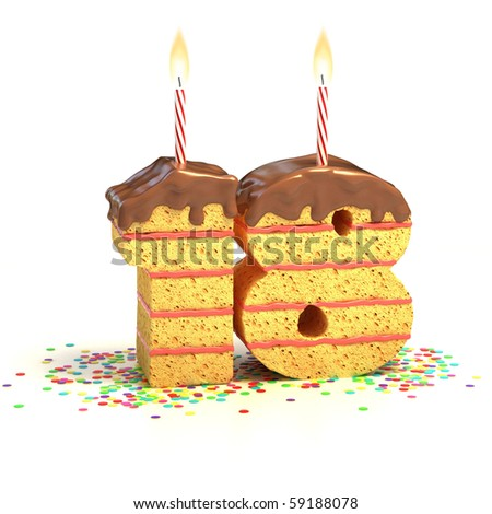 cake surrounded by confetti with lit candle for a eighteenth birthday - stock photo