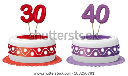 Cake thirty years and forty years - stock photo