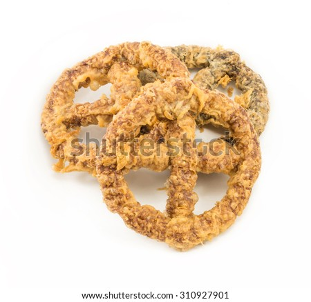 Cake wheel Ancient Thai dessert , Khanom Kong, isolate on white - stock photo
