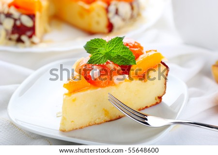 cake with apricots - stock photo