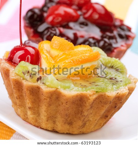 Cake with Berries over white - stock photo