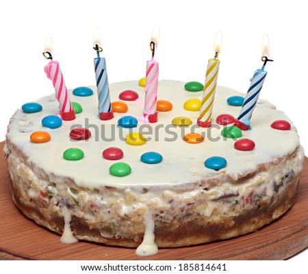 Cake With Burning Candles, Isolated On White Background - stock photo