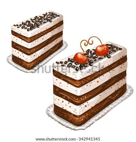 Cake with cherries - stock photo