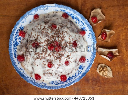 Cake with cherries and sour cream - stock photo