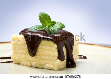 cake with chocolate - stock photo
