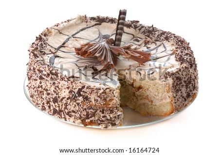 cake with chocolate  and  coconut crumbs lacking one piece isolated on white - stock photo